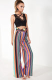 Multi Rainbow Stripe Wide Leg Trousers