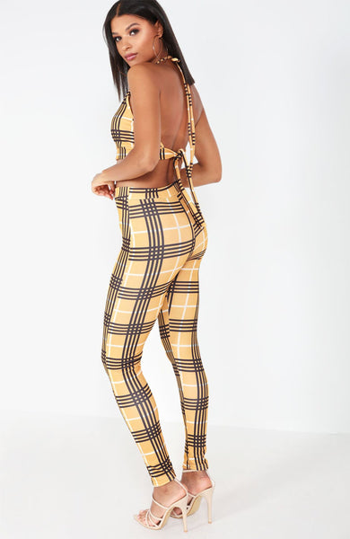 Mustard Check Crop Top Trouser Co Ord