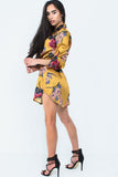 Mustard Satin Floral Shirt Dress