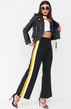 Mustard Side Stripe Wide Leg Trousers