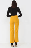 Mustard Wide Leg Button Trousers