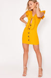 Mustard Tie Front Button Down Mini Dress