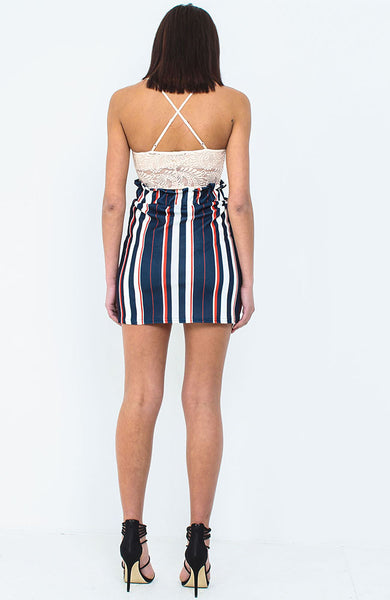 Navy Frill Waist Stripe Skirt