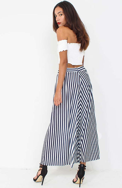 Navy Stripe Wide Leg Culottes