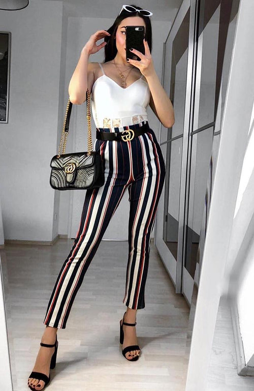 Navy Stripe Cigarette Trousers