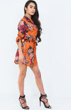 Orange Satin Floral Shirt Dress