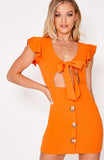 Orange Tie Front Button Down Mini Dress