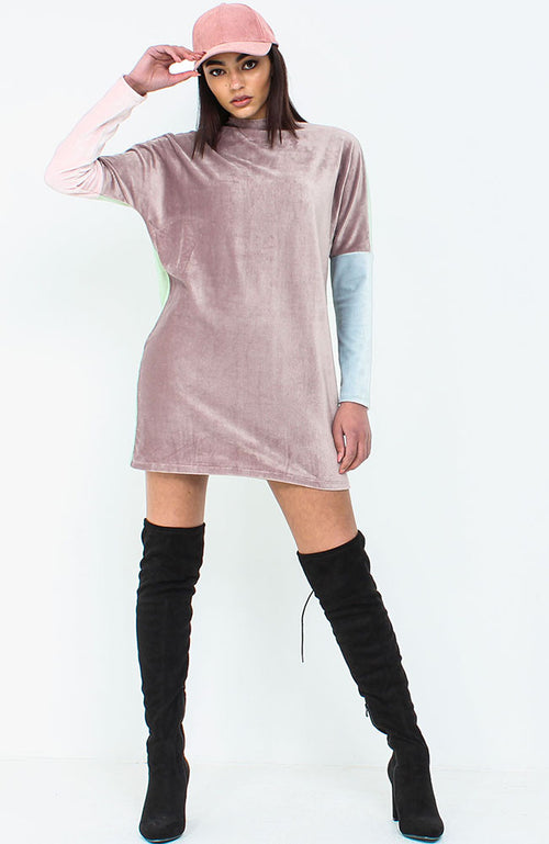 Pink Colour Block Jumper Dress