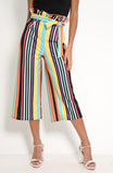Multi Rainbow Stripe Paper Bag Culottes