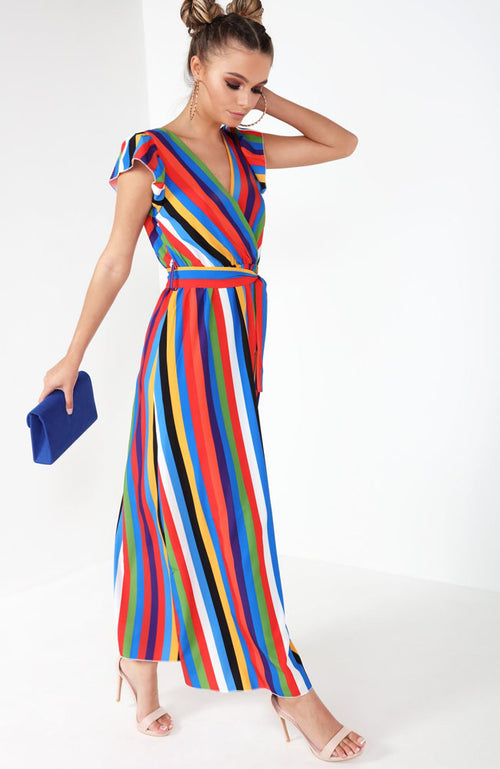 Multi Colour Rainbow Stripe Maxi Dress