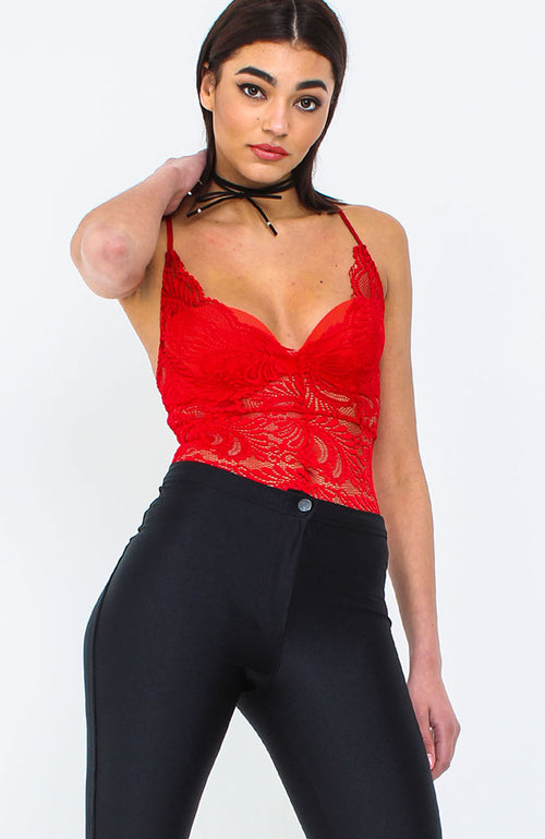 Red Lace Cross Back Bodysuit