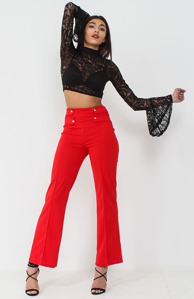 Red Wide Leg Button Trousers