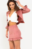 Rose Pink Suede Frill Skirt Set