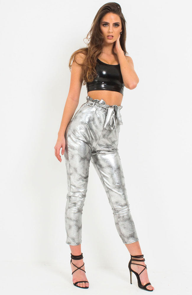 Silver Sparkle Paper Bag Trousers