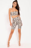 Beige Snake Print Bandeau Top Shorts Co Ord