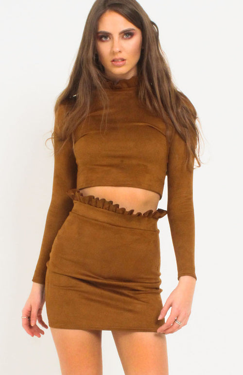 Tan Suede Frill Detail Skirt Co Ord
