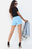 Washed Blue Distressed Denim Shorts
