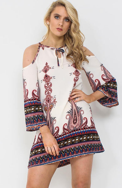 White Cold Shoulder Paisley Floral Shift Dress