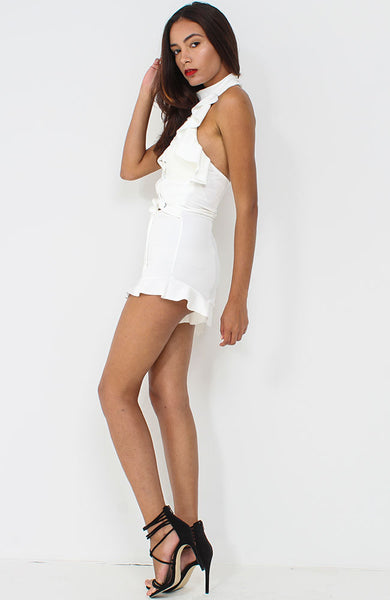 White Frill Lace UP Playsuit
