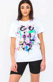 White Gulity Slogan Paint Splash T Shirt