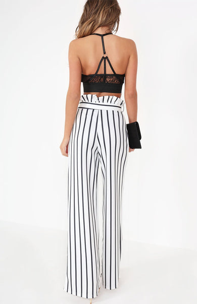 White Striped Wide Leg Paper Bag Trousers