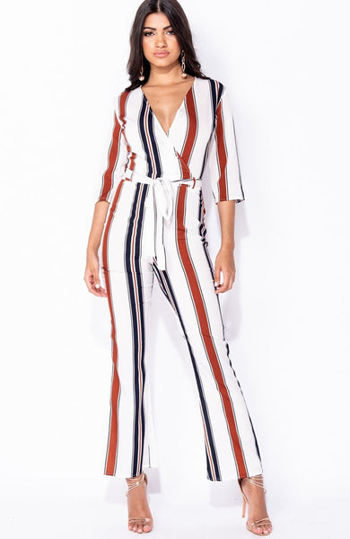 White Striped Wrap Over Jumpsuit