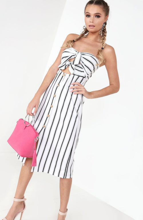 White Striped Knot Front Button Dress