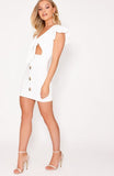 White Tie Front Button Down Mini Dress