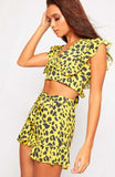 Yellow Leopard Print Crop Top Shorts Co Ord