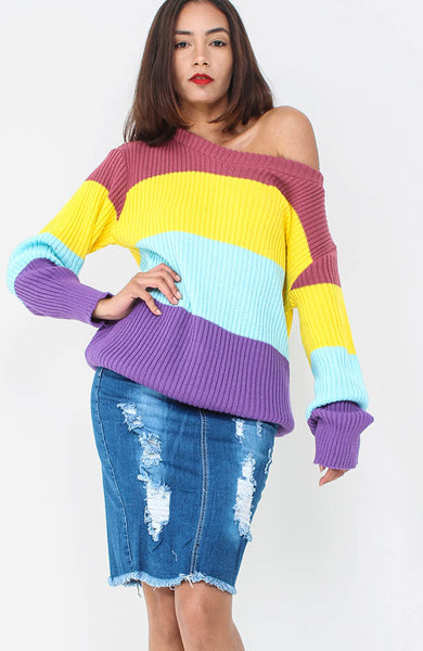 Yellow Rainbow Knitted Jumper