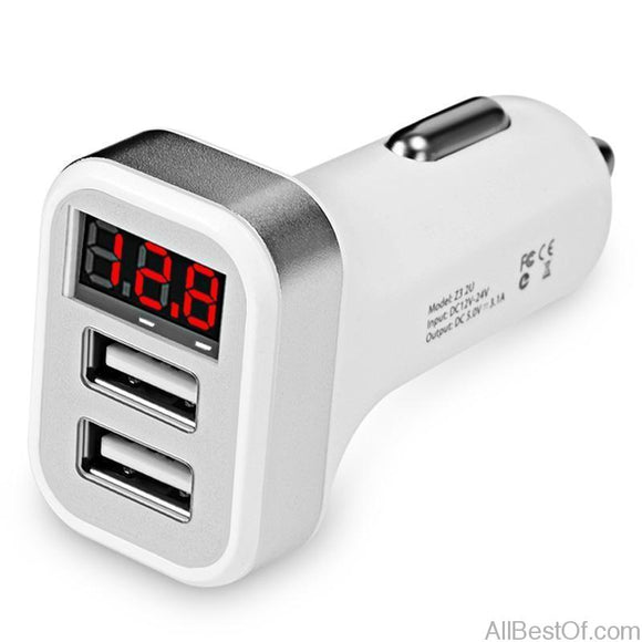 Car Charger LCD Display Dual USB Port for iPhone iPad Samsung Xiaomi - AllBestOf.com