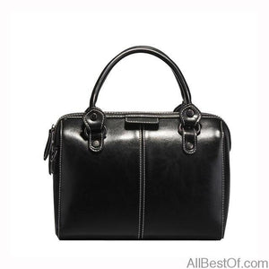AllBestOf.com Black Genuine Cow Leather Handbag High Quality Luxury Brand Designer