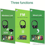 AllBestOf.com ELECTRONIC Multifunction stereo Wireless Headset Headphones with Microphone FM Radio for MP3 PC TV Audio Phones