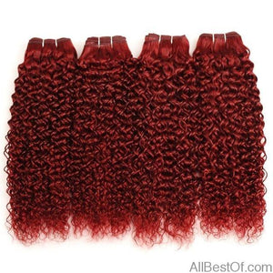AllBestOf.com HAIR 10 10 10 10 Red 99J Brazilian Jerry Curl Human Hair 4 Bundles 10-26inch Burgundy Hair Weave Extension Thick No Shedding