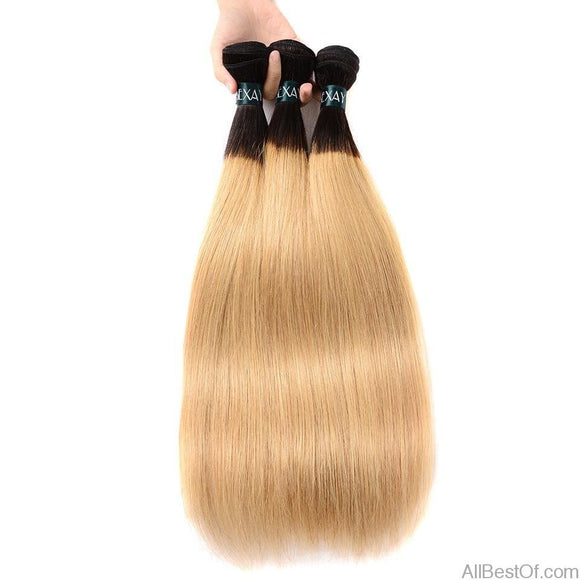 AllBestOf.com HAIR 10-26 inch Blonde Straight Ombre Human Hair Weaves 3 Bundles 2 Tone 1B/27 Bleach Blonde Brazilian
