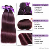 AllBestOf.com HAIR 10-26 inch Brazilian Straight 3 Burgundy Bundles With Closure Dark Red Colored Human Hair Weave
