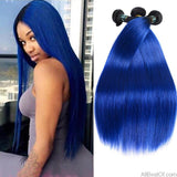 AllBestOf.com HAIR 10-26 inch Pre-Colored 2 Tone Blue Peruvian Straight Human Hair Ombre 3 Bundle Deals T1B/Blue Dark Roots Hair Extensions Weave