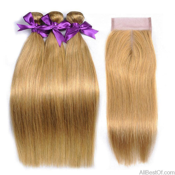 AllBestOf.com HAIR 10-26inch Color 27 Honey Blonde Brazilian Straight Human Hair 3 Bundles With Closure Blonde