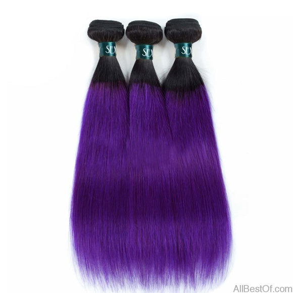 AllBestOf.com HAIR 10-26inch Ombre Brazilian Hair Straight Human Hair Weaves 3 Bundles Lot T1B/Purple Dark
