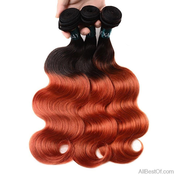 AllBestOf.com HAIR 10-26inch Ombre Brazilian Human Hair Weave 3 Bundles Pack T1B/350 Golden Pre-Colored Brazilian Body Wave