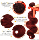 AllBestOf.com HAIR 10-26inch Peruvian Body Wave Hair Red 99J Burgundy 3 Bundles Human Hair Weave Extensions