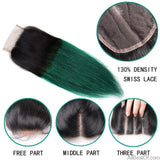 AllBestOf.com HAIR 10-26inch Pre-Colored Ombre 3 Bundles With Closure T1B/ Green Dark Roots Turquoise Silk Straight Human Hair