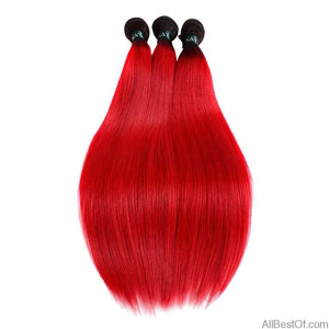 AllBestOf.com HAIR 10-26inch Pre-Colored Red Ombre Brazilian Human Hair Weave Bundles 3 Pcs T1B/Red Dark Roots Straight