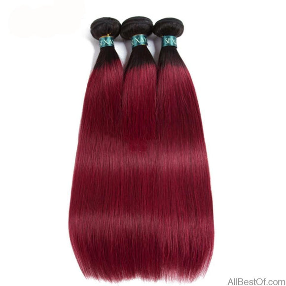 AllBestOf.com HAIR 10-26inch T1B/Burgundy Bundles 3 Pcs Ombre Brazilian Straight Human Hair Weave Wine Red