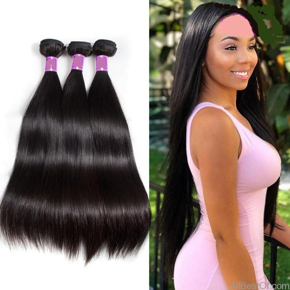 AllBestOf.com HAIR 10-30inch Straight Brazilian Virgin Hair Weave 1/3 Bundles 100% Human Hair Weave Extensions Natural Color
