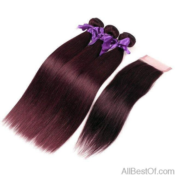 AllBestOf.com HAIR 12 14 16 & Closure 10 10-26 inch Brazilian Straight 3 Burgundy Bundles With Closure Dark Red Colored Human Hair Weave