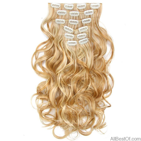AllBestOf.com HAIR 16 Clips 22inch 140G Long Body Wave Clip In Hair Extensions Synthetic 20 Colors Ombre blond Black Brown High Temperature