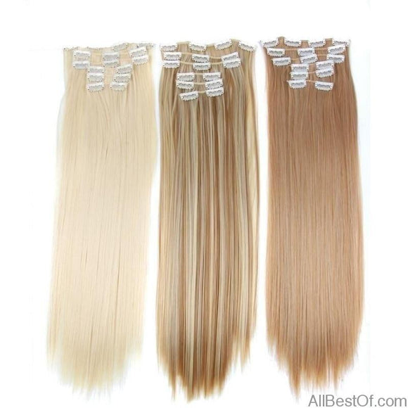 AllBestOf.com HAIR 16 Colors 16 Clips Long Straight Synthetic Hair Extensions Clip In High Temperature Fiber Black Blond Hairpiece
