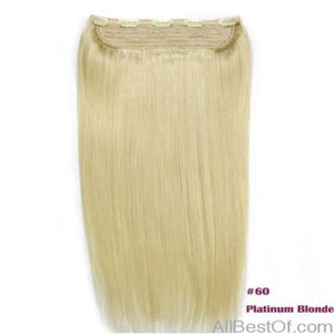 "AllBestOf.com HAIR 16inches / 100g/pc, >=30%, 6 Months With Proper Care #60 Color 100g-200g 16""-24"" Machine Made Remy Hair One Piece Set 5 Clip-in 100% Human Hair Extensions Natural Straight Hair"