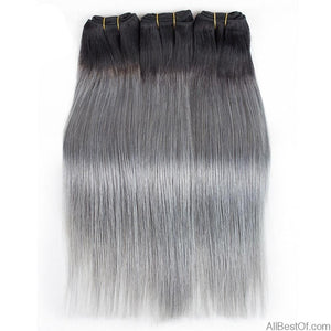 AllBestOf.com HAIR 1B/Dark Grey 2/3 Bundles 10-18inch Two Tone Ombre Brazilian Hair Weave Bundles Straight Remy Human Hair Extension